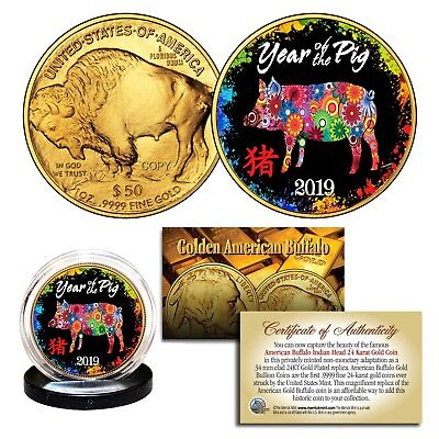 2019 Chinese YEAR OF THE PIG 24K Gold American Buffalo Tribute Coin PolyChrome