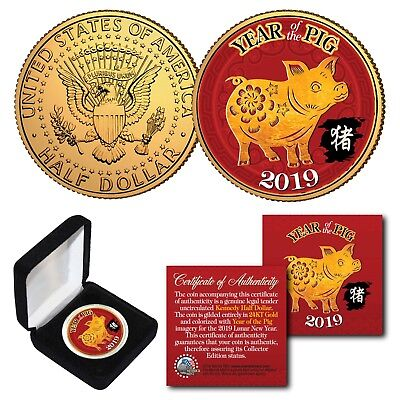2019 Chinese New YEAR OF THE PIG 24K Gold Plated JFK Half Dollar Coin with BOX