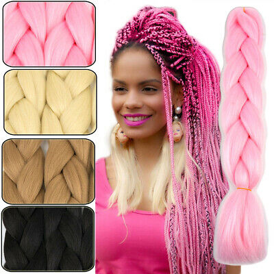 "US 24"" Xpression Braiding hair Kanekalon Ombre Jumbo Braids Weaving Hair Pink"