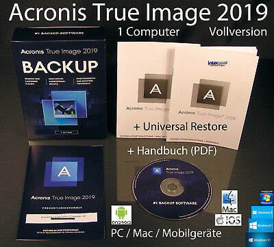 Acronis True Image 2019 Vollversion 1 PC/Mac Box, CD + Universal Restore OVP NEU