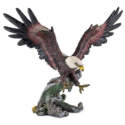 Bald Eagle In Flight Figurine 9.5 Inch Wingspan Highly Detailed Resin New!