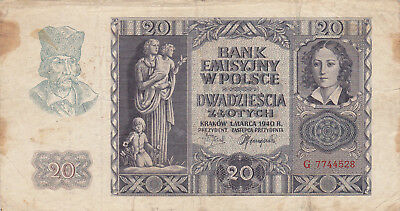 20 Zlotych Fine Banknote From German Occupied Poland 1940!!pick-95