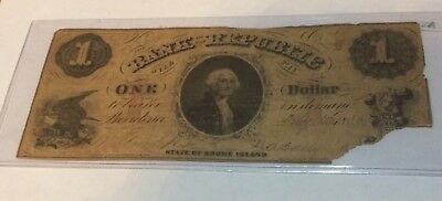 1856 $1 Bank Of Republic State Of Rhode Island