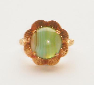 Rare Unusual Antique Art Deco Large Cabochon Green Banded Agate Flower Gold Ring