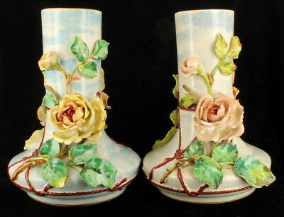 Antique Victorian French Barbotine Hand Painted Majolica Floral Large Vases Pair