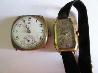 LOT of 2 VINTAGE HAND WIND WRISTWATCHES - BOTH WORKING - Rolled Gold Cases!!