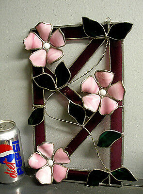 Vintage Leaded Stained Glass Window Hanging Pink Flowers Purple Amethyst Frame
