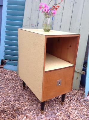 Vintage 1950's Yellow Formica Bedside Cabinet Campaign Style Drawer Retro Atomic