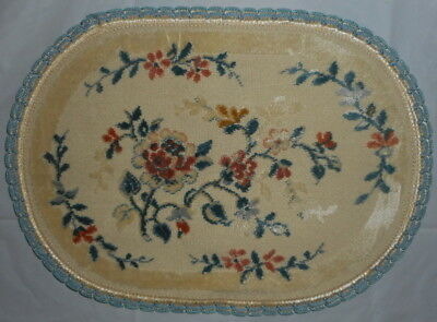 """Vintage Oval 9""""x13"""" French FLORAL Dollhouse Rug PRINTEMPS Made Belgium Miniature"""