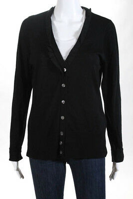 c98c153e14 Elie Tahari Black Wool Long Sleeve V Neck Cardigan Sweater Size Large
