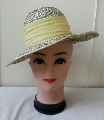 Vintage 1960's Yellow & Grey Synthetic 'Straw' Cloche Style Formal Dress Hat