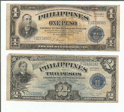 Philippine Victory Currency- 1 & 2 Peso