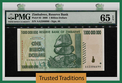 Tt Pk 83 2008 Zimbabwe Reserve Bank $1 Billion Dollars Pmg 65 Epq Gem Unc!