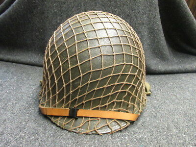 Wwii Us M1 Helmet W/ Liner, Chinstraps, & Camo Net-Front Seam-Fixed Bales