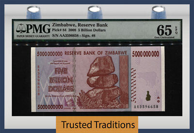 Tt Pk 84 2008 Zimbabwe Reserve Bank $5 Billion Dollars Pmg 65 Epq Gem Unc!