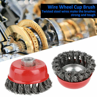 "4Pcs M14 Crew Twist Knot Wire Wheel Cup Brush Set for 2.95"" 4.13""Angle Grinder"