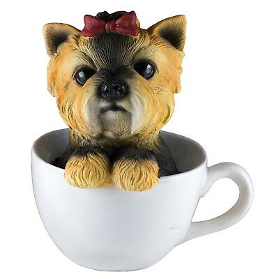 Yorkie Yorkshire Terrier In A Tea Cup Dog Figurine Resin 6 Inch High New In Box