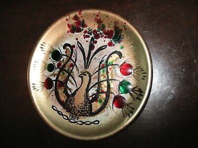 California Cloisonne 1957 Hand Decorated Enamel on Copper Plate VINTAGE