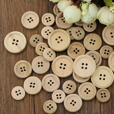 New 50 Pcs Mixed Wooden Buttons Natural Color Round 4-Holes Sewing Scrapbooking