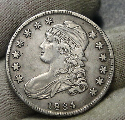 1834 Capped Bust Half Dollar 50 Cents - Nice Coin.. Free Shipping  (7462)