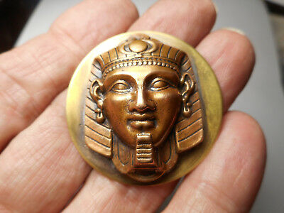 """Large Copper on Brass King Tut Egyptian King Button 1-1/2"""""""