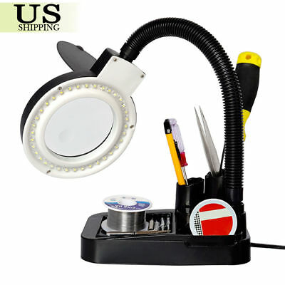 LED Lighted 5X 10X Magnifier Desk Lamp 40 LED Lamp Lights Magnifying Crafts
