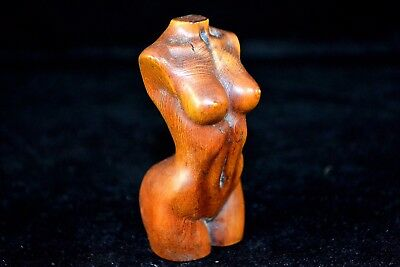Rare Japanese Boxwood Hand-Carve Human Body Art Sexual Culture Belle Old Statue