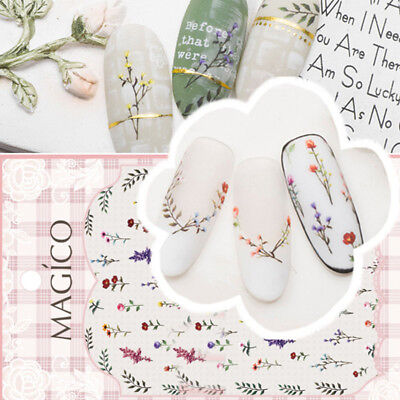 Fashion Flowers Leaves 3D Nail Art Water Transfer Stickers Nail Accessories New