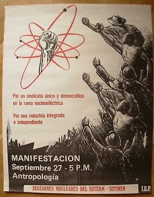 Original Mexican Poster Nuclear industry Manifestacion TGP nucleoelectrica Mexic