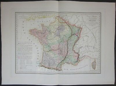 1837 FRANCE old map Malte-Brun Hout Francia Gallia