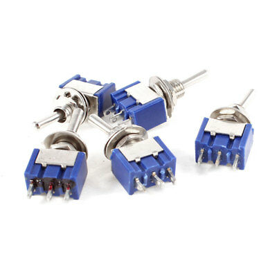 5 Pcs AC 125V 6A 3-Pin SPDT On/Off/On 3 Position Mini Toggle Switch Blue