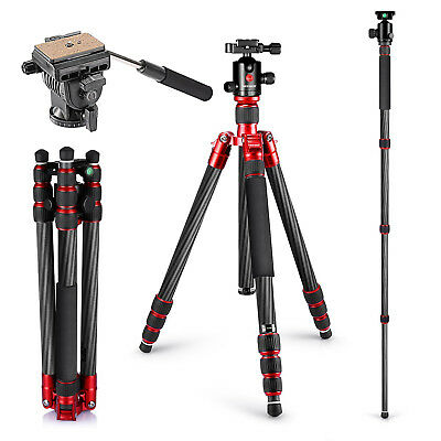 "Neewer Carbon Fiber Tripod Monopod 67"" with 360 Degree Ball Head for DSLR Camera"