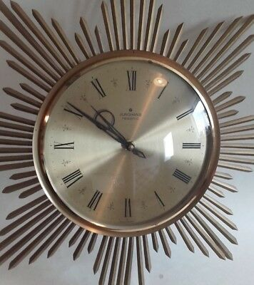 A Vintage 60 / 70s Retro Starburst / Sunburst Wall Clock  German, Junghans W/O