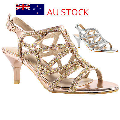 Womens Ladies Low Heel Dress Sandals Wedding Prom Party Shoes Silver Gold Size