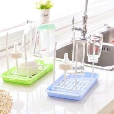 Baby Bottle Cleaning Rack Drying Easy Clean Natural Holder Free Shelf Nipple BS