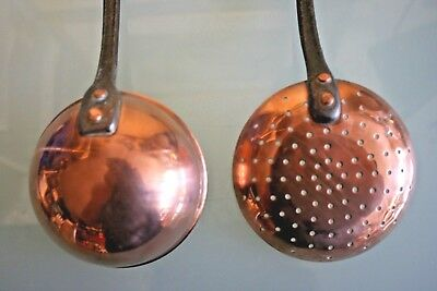 2 Vintage French  Quality Copper Utensils 13'' (33 1/2cm) Long Appx