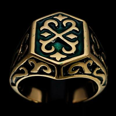 Bronze Mens Costume Knight Ring Cross Celtic Crest Dark Green Enamel Any Size
