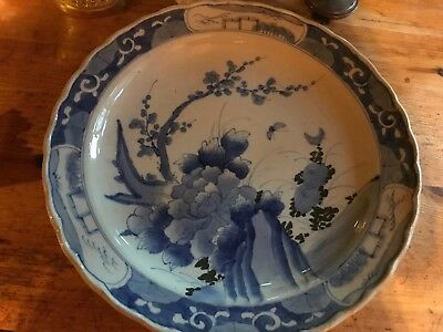 """Large Antique Chinese Porcelain Blue White landscape Charger Plate 19th C 16"""""""