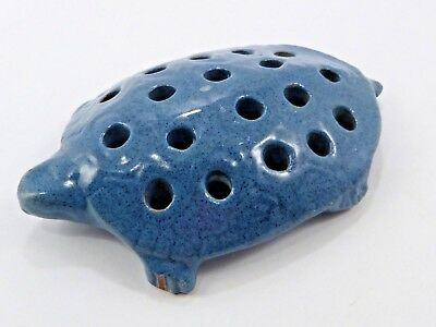 Vintage Antique Terra-Cotta 18 Hole Blue Glazed Turtle Flower Frog Figural