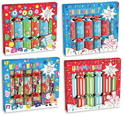 Party Game Christmas Crackers Box Of 6 Includes Joke Hat & Family Table Game 9""