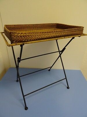 Mid-century folding table with cane tray era String Auboeck 50s 60s modernist