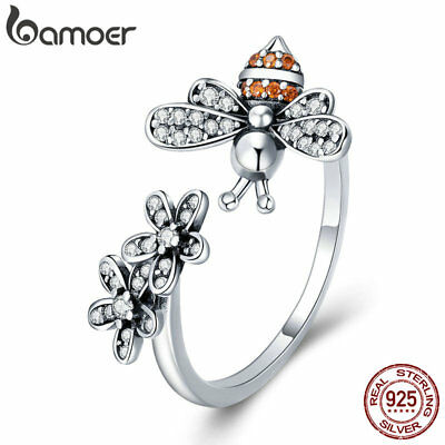 Bamoer Solid S925 Sterling Silver Women Ring Story Of The Bee With Cz Jewelry