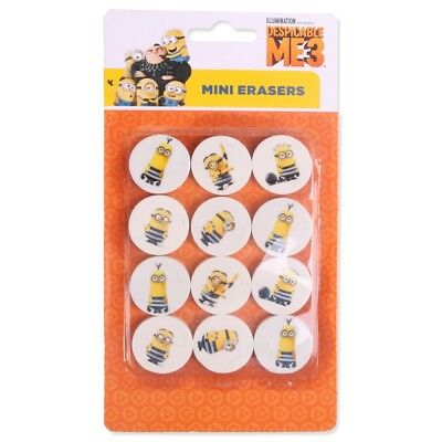 12x NOVELTY MINION PENCIL ERASERS Kids School Rubber Stationery Party Gift Bag