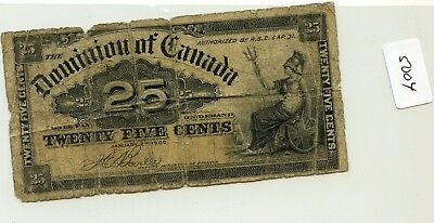 Canada 25 Cents note 1900  Pick 9a lotsep5004