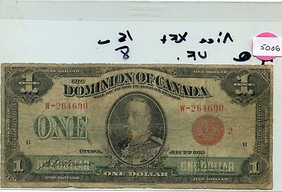 Canada One Dollar  note 1923  Pick 33g lotsep5006