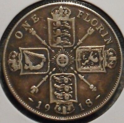 British Florin - 1918 - King George V - $1 Unlimited Shipping