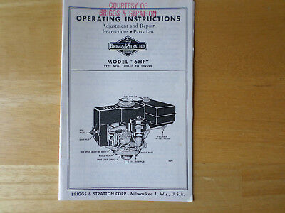 Briggs & Stratton Model 6HF Operating Instructions Adjustment Repair Parts List