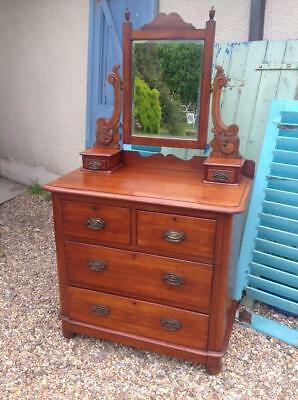 Antique Victorian Chest Of Drawers With Dressing Mirror Great Cond. Fine Quality