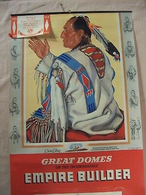 1956~Great Northern R.r.~Crow Chief Calendar Art Print~Blackfeet Indian Poster~