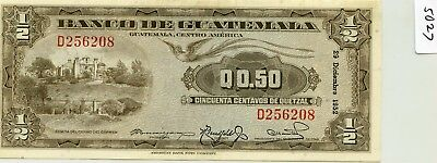 Guatemala 1/2 Quetzal 1952 issue Pick 23 Very HG and rare so nice   lotsep5027
